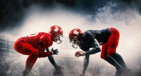 Photo for American football players in action play in professional sport stadium. Fit caucasian men in uniform with ball. Human emotions and facial expressions concept. scramble concepts - Royalty Free Image