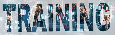 Photo for Collage about men with battle rope and woman in the fitness gym. The gym, sport, rope, training, athlete, workout, exercises concept. letters over the collage. - Royalty Free Image
