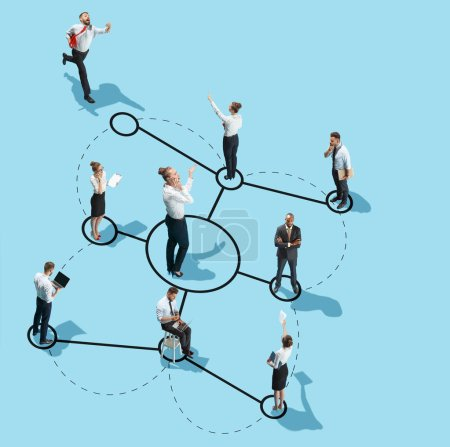 Photo for Conceptual image of business processes with businessman and businesswoman. Flat isometric view. Business, recruitment, human resources, communication, internet, teamwork and network concept. Miniature - Royalty Free Image