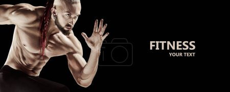 Photo for The fit man doing weight lifting in gym on black background. The fitness, training, sport, workout, exercise, athlete, healthy lifestyle concept - Royalty Free Image
