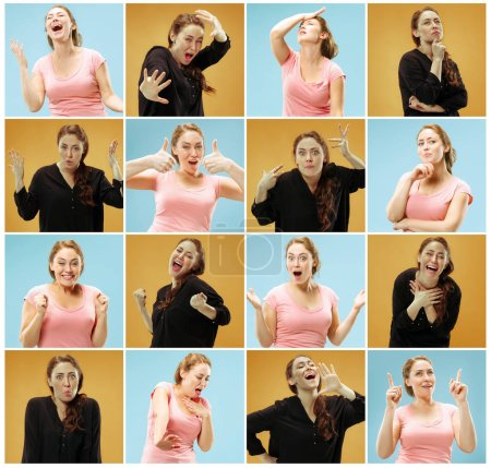 Photo for Collage of images of young woman with different facial expressions at studio - Royalty Free Image