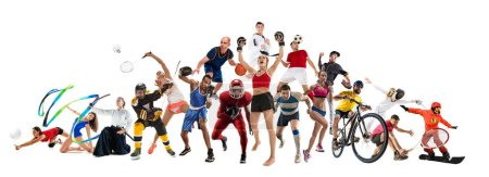 Sport collage about kickboxing soccer