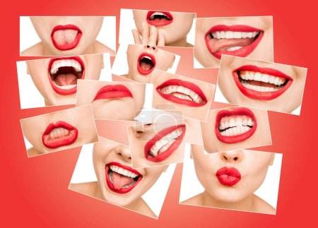 Photo for Photo collage of beautiful young woman lips covered with glossy red lipstick. Lips expressing different emotions. Smile, discontent, kiss, passion, slight smile, tongue out, desire - Royalty Free Image