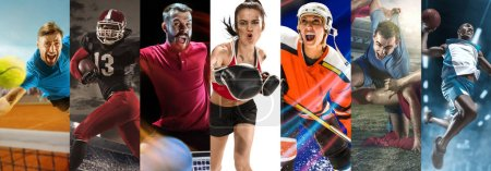 Photo for Attack. Sport collage about soccer, american football, table tennis, boxing, ice hockey, tennis and basketball players in motion. Adult athletes in action - Royalty Free Image