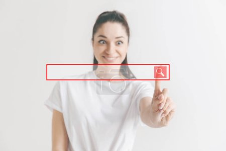 Photo for Businesswomans finger touching empty search bar, modern business background concept - can be used for insert text or pictures. - Royalty Free Image