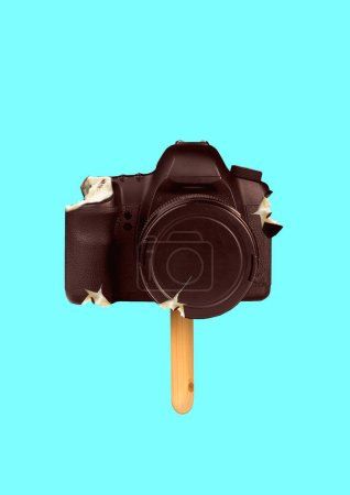 Photo for Delicious photoshooting. Sweet shots taste good. Wanna bite a piece. Camera as an icecream on the wooden stick. Chocolate outside, creamy inside. Modern design. Food concept. Contemporary art collage. - Royalty Free Image