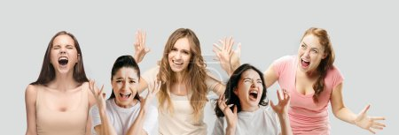 Photo for Horrible, stress, shock. Half-length portrait isolated at white studio background. Young emotional surprised people clasping head in hands. Human emotions, facial expression concept. Creative collage. - Royalty Free Image