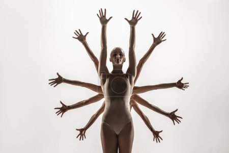 The group of modern ballet dancers. Contemporary a...