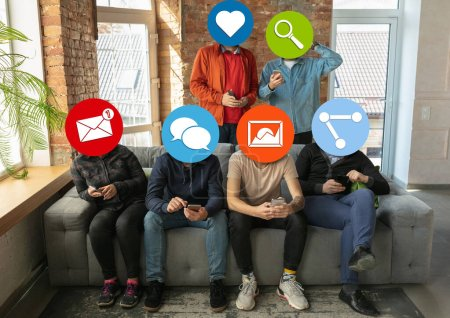 Creative millenial people connecting and sharing social media. Modern UI icons as heads