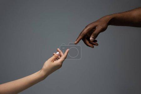 Photo pour Touche à Dieu. Tolérance raciale. Respecter l'unité sociale. Mains africaines et caucasiennes gesticulant sur fond de studio gris. Droits de l'homme, amitié, unité intentionnelle. Unité interraciale. - image libre de droit