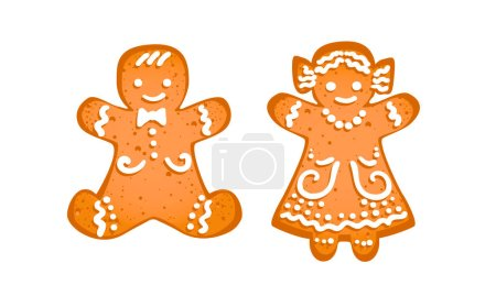 Gingerbread man and girl isolated on white backgro...