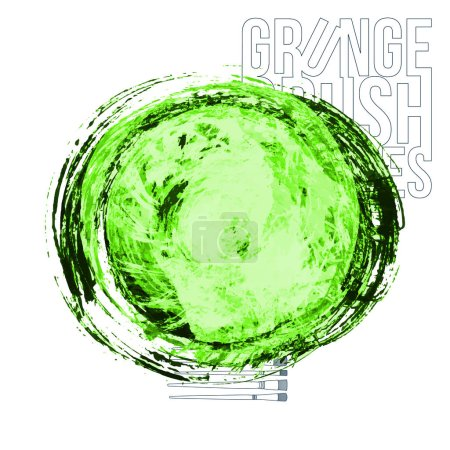 Illustration for Abstract green brush strokes and big dot, vector illustration - Royalty Free Image