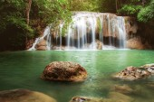 Erawan waterfall in kanchanaburi with beautiful of Thailand.