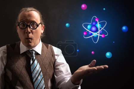 Photo for Professor or Teacher hat presenting Atom icon symbol - Royalty Free Image
