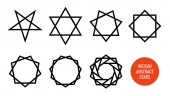 Wiccan symbol and all polygonal stars pentagram sexagram and other isolated on white - Big vector set of line symbols