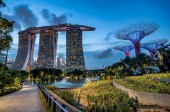 Singapore, Singapore-  March 1, 2018:Marina Bay Sands Hotel at dusk in Singapore, Malaysia