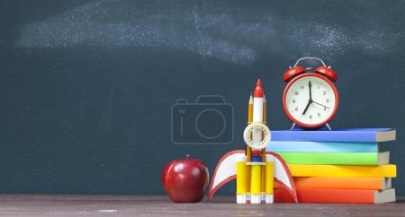 Back to school background with rocke