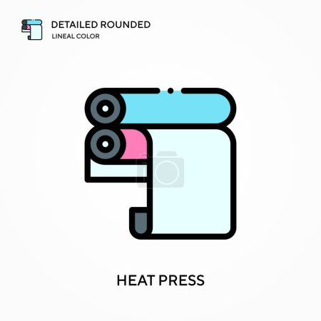 Heat press detailed rounded lineal color vector ic...