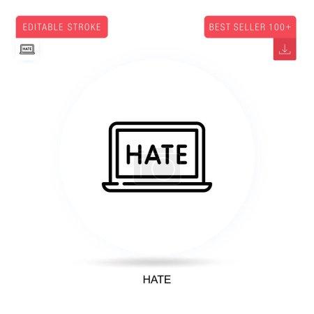 Photo pour Je déteste l'icône vectorielle plate. Illustrations vectorielles de métaphore de concept isolé. - image libre de droit