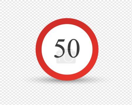 Verkehrszeichen, Beschränkung der Höchstgeschwindigkeit auf der Straße.