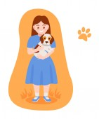 Caring for puppy pet Girl hugs pet cares for him