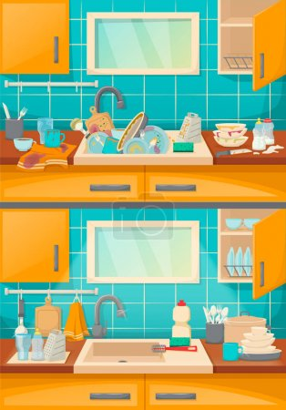 Illustration for Clean sink with kitchenware of modern kitchen with furniture and utensils. Washing dishes kitchen sink with dirt unwashed dish and accessories in the dining-dining room cartoon vector illustration. - Royalty Free Image
