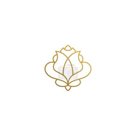 Photo pour Illustration vectorielle simple de modèle de conception d'emblème de style linéaire minimal d'élégante belle rose dessinée à la main avec de fines lignes dorées - image libre de droit
