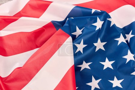 Photo for USA flag background. Close up crumpled flag of United States of America. American flag wallpaper. - Royalty Free Image