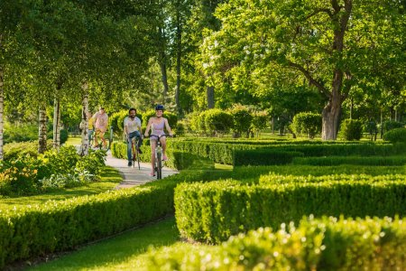 Photo for Young couple enjoying cycling through park in summer. Cheerful group of friends resting in park. People, sport and healthy lifestyle. - Royalty Free Image