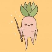 cute lovely cartoon mandrake root with magic wand vector illustration