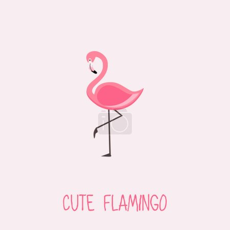 Cute Flamingo vector illustration with Pink Flamin...