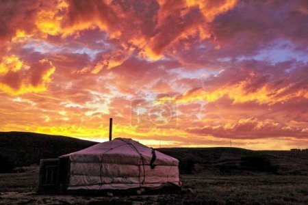 Photo for Wild life sky with Mongolian traditional home - Royalty Free Image
