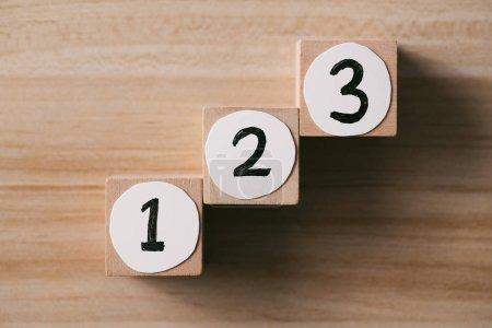 Concept étape par étape Étape 1, Étape 2, Étape 3 - l'échelle à sucer