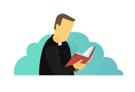 Priest reading Holy Bible book. Man is praying