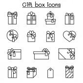 Gift box  Present Reward icon set in thin line style