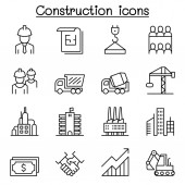Construction industrial icon set in thin line style