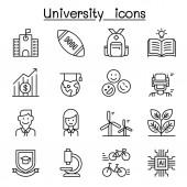 University college school icon set in thin line style