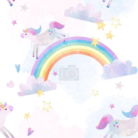 Photo pour Modèle de beaux enfants sans couture avec les licornes et les arcs-en-ciel - image libre de droit