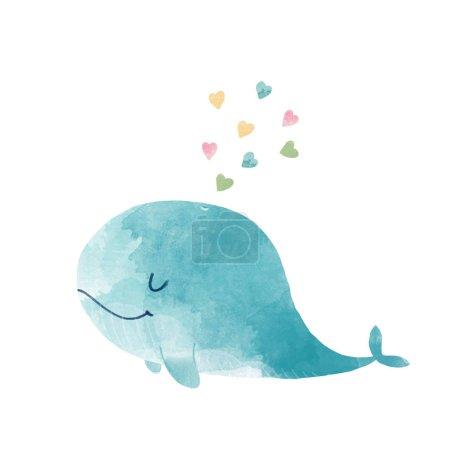 Photo pour Belle illustration avec baleine aquarelle dessiné main - image libre de droit