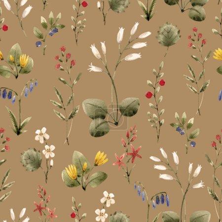 Photo pour Beau motif sans couture avec des fleurs d'aquarelle dessinées à la main - image libre de droit