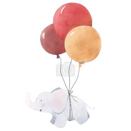 Photo pour Belle illustration aquarelle d'éléphanteau mignon - image libre de droit
