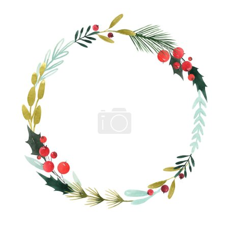 Photo for Beautiful wreath with hand drawn watercolor flowers illustration - Royalty Free Image