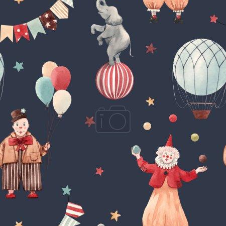 Photo pour Beau modèle sans couture avec les clowns du cirque illustrations et animaux - image libre de droit