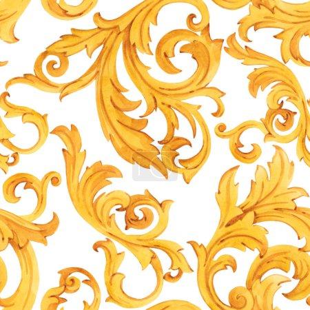 Photo pour Aquarelle d'or motif baroque rococo ornement riche luxe impression - image libre de droit