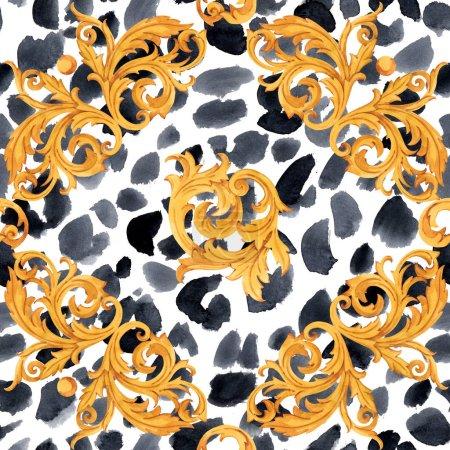 Photo pour Aquarelle motif baroque doré rococo ornement riche impression de luxe - image libre de droit
