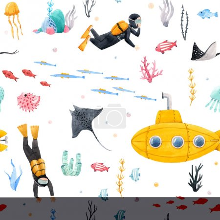 Photo pour Magnifique motif sans couture avec aquarelle vie marine sous-marine illustrations - image libre de droit