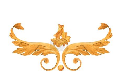 Photo pour Éléments de luxe riche ornement rococo aquarelle motif baroque doré - image libre de droit