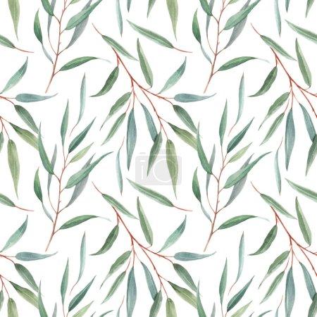Foto de Hermoso patrón sin costuras con hojas tropicales australianas de color agua aislada dibujadas a mano. - Imagen libre de derechos