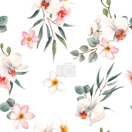 Photo for Beautiful seamless pattern with hand drawn isolated watercolor tropical orchid white and pink flowers - Royalty Free Image