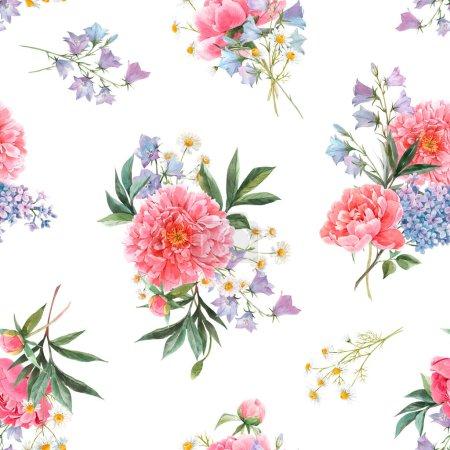 Photo pour Magnifique motif sans couture avec aquarelle dessinée à la main pivoine rose, hortensia bleue et lilas fleurs d'été et les papillons. Illustration florale stock . - image libre de droit